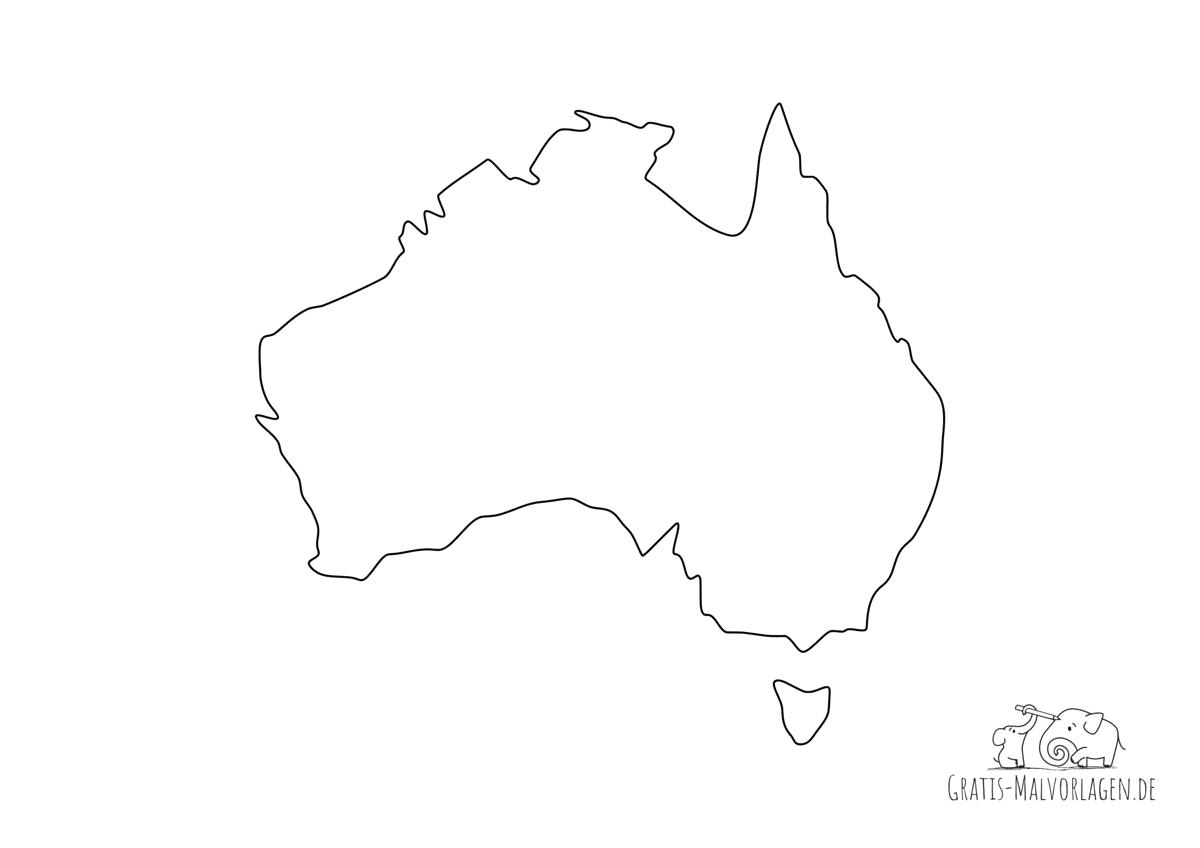 Ausmalbild Australien Umriss Grenze