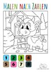 Ausmalbild Baby Kuh - Malen nach Zahlen