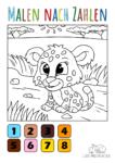 Ausmalbild Baby Leopard - Malen nach Zahlen