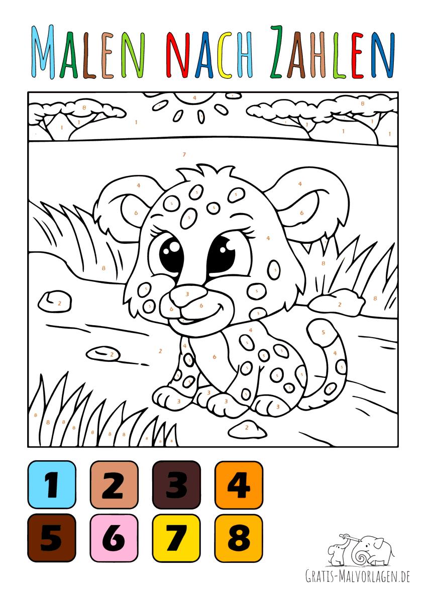 Baby Leopard - Malen nach Zahlen