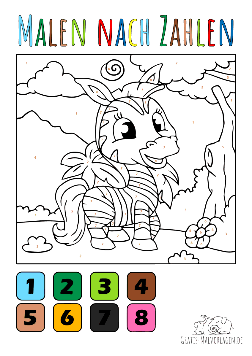 Ausmalbild Baby Zebra - Malen nach Zahlen