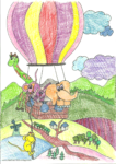 Ausmalbild Ballonfahrt - Maria 8 Jahre