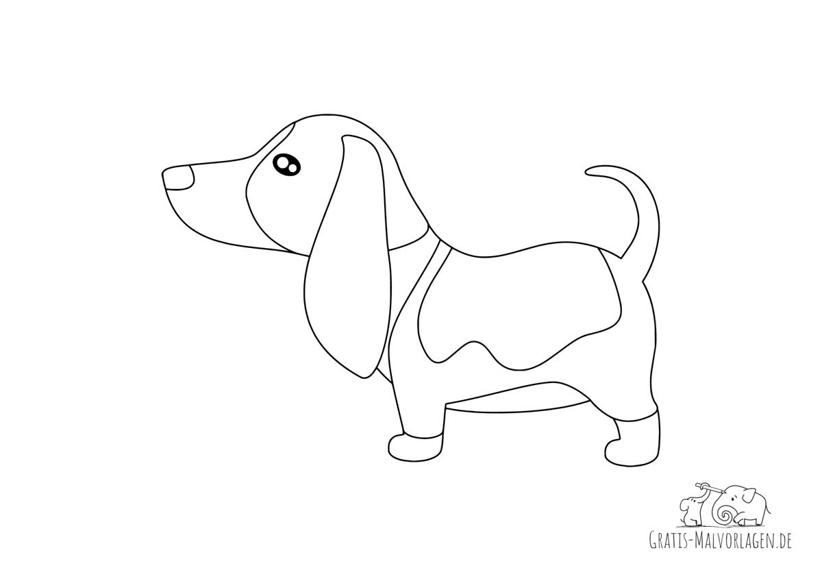 Ausmalbild Basset Hound Hund
