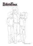 Ausmalbild Bibi & Tina - Bibi Blocksberg und Tina mit Frau Martin