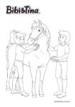 Ausmalbild Bibi & Tina - Bibi Blocksberg und Tina mit Pferd Sabrina