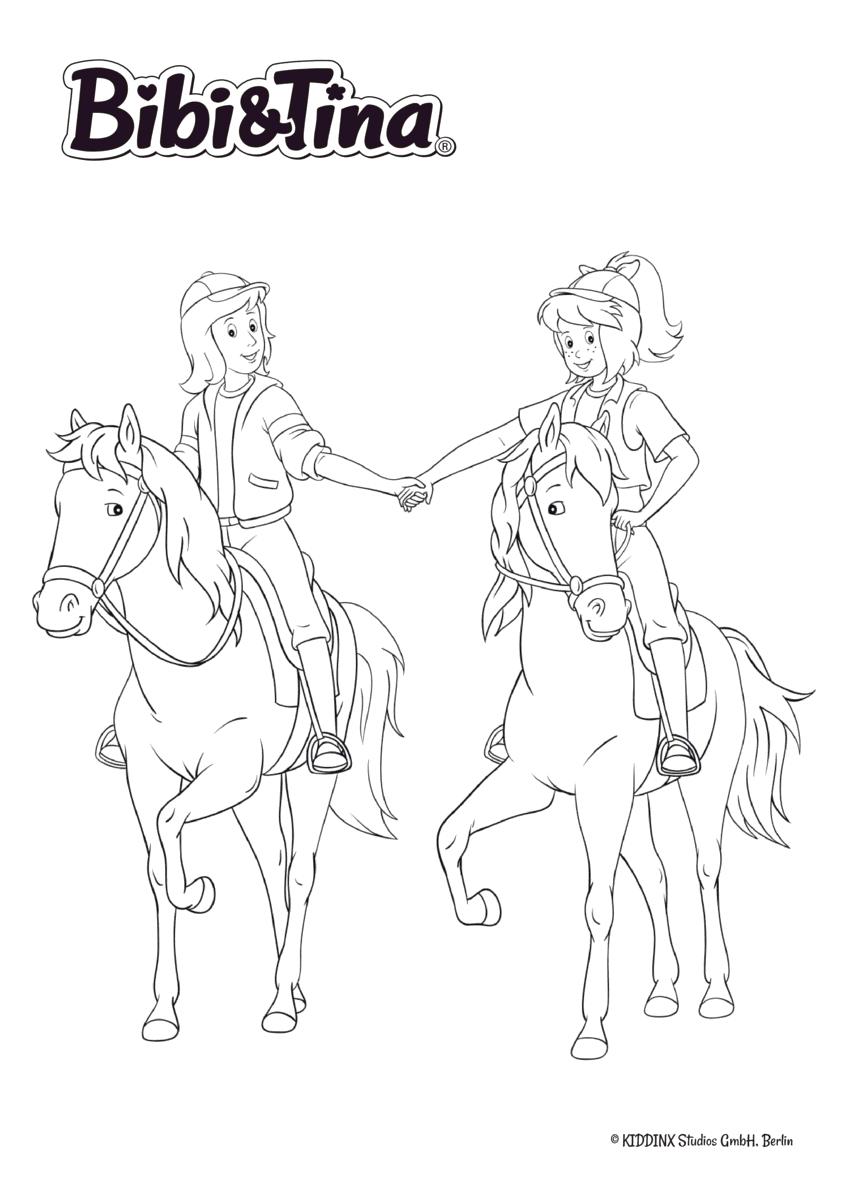 Ausmalbild Bibi & Tina - Bibi Blocksberg und Tina reiten auf ihren Pferden Sabrina und Amadeus