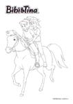 Ausmalbild Bibi & Tina - Bibi Blocksberg und Tina reiten auf Sabrina