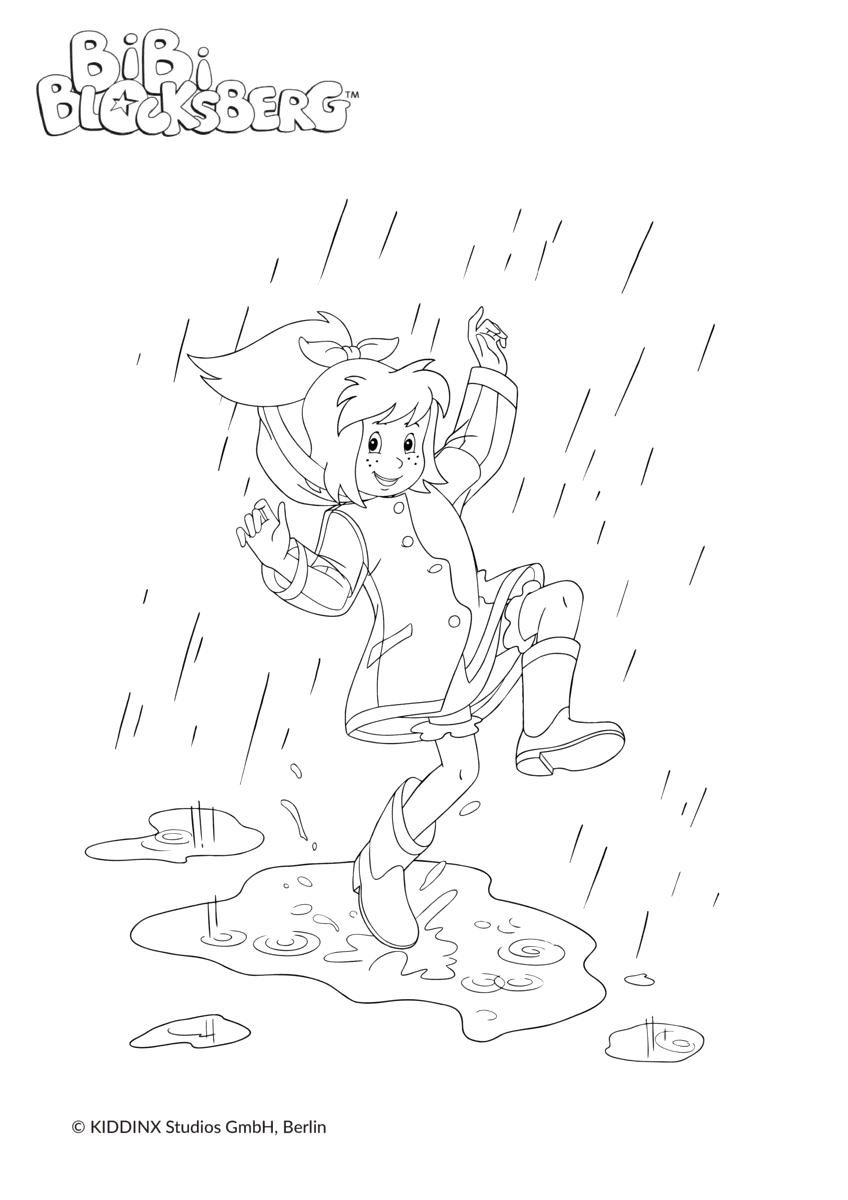 Ausmalbild Bibi Blocksberg tanzt im Regen