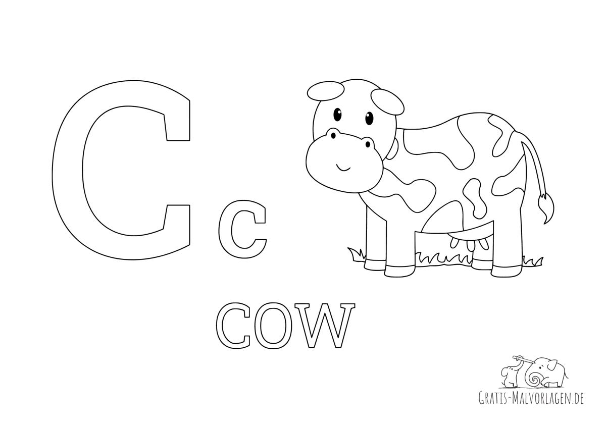 Ausmalbild Buchstabe C steht für Cow (Englisch)