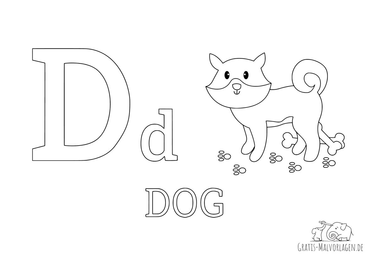 Ausmalbild Buchstabe D steht für Dog (Englisch)