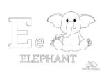 Ausmalbild Buchstabe E steht für Elephant (Englisch)