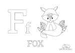 Ausmalbild Buchstabe F steht für Fox (Englisch)