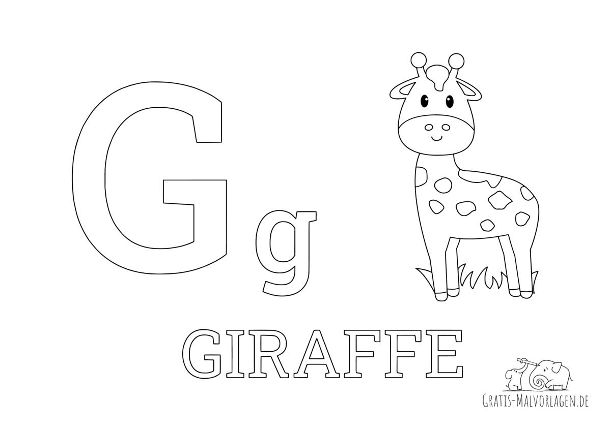 Ausmalbild Buchstabe G steht für Giraffe (Englisch)