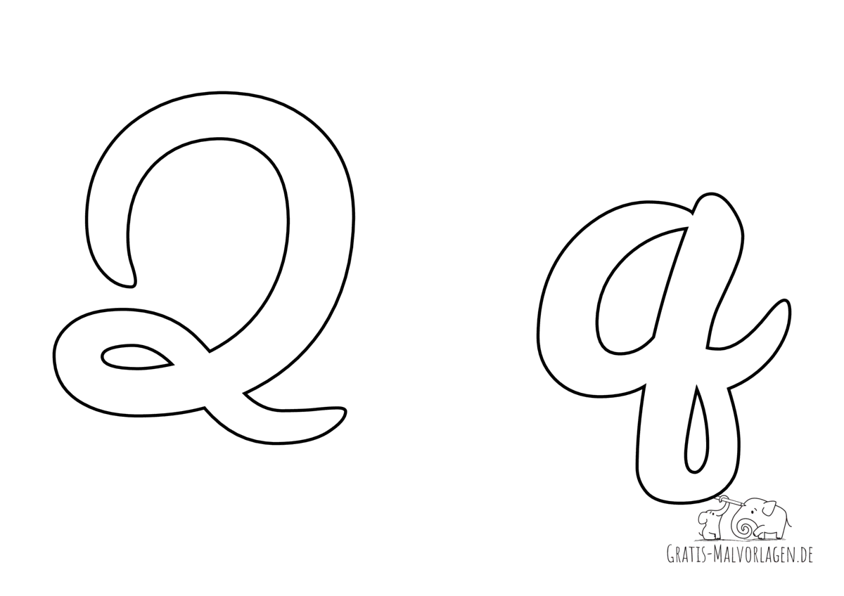 Ausmalbild Buchstabe großes und kleines Q