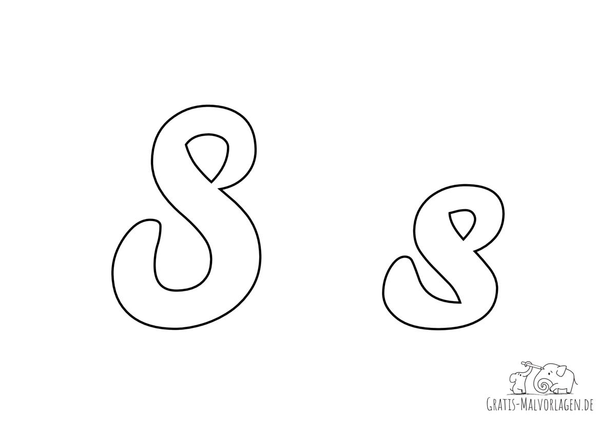 Ausmalbild Buchstabe großes und kleines S