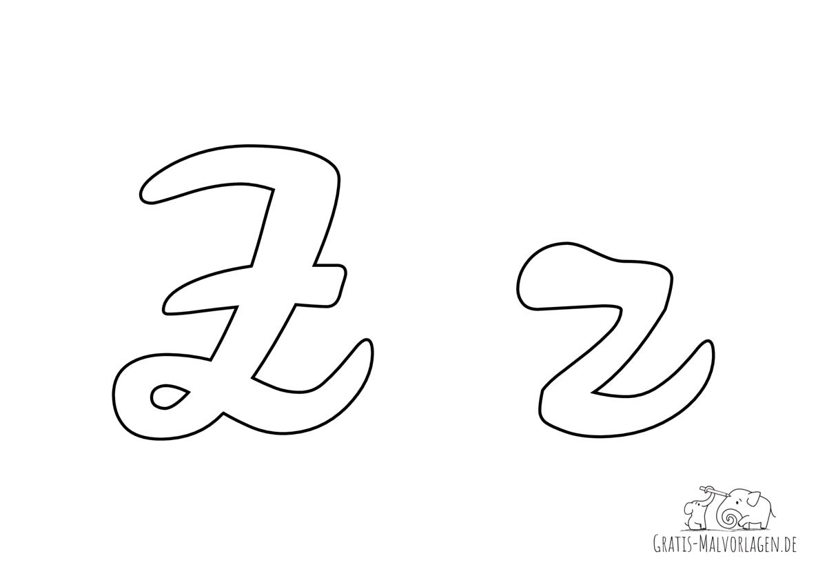 Ausmalbild Buchstabe großes und kleines Z