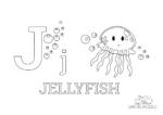 Ausmalbild Buchstabe J steht für Jellyfish (Englisch)