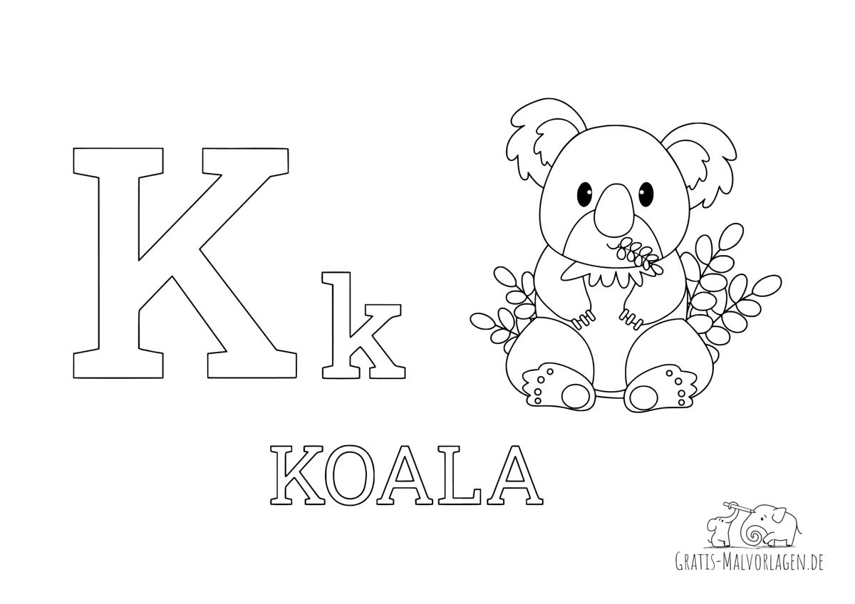 Ausmalbild Buchstabe K steht für Koala (Englisch)