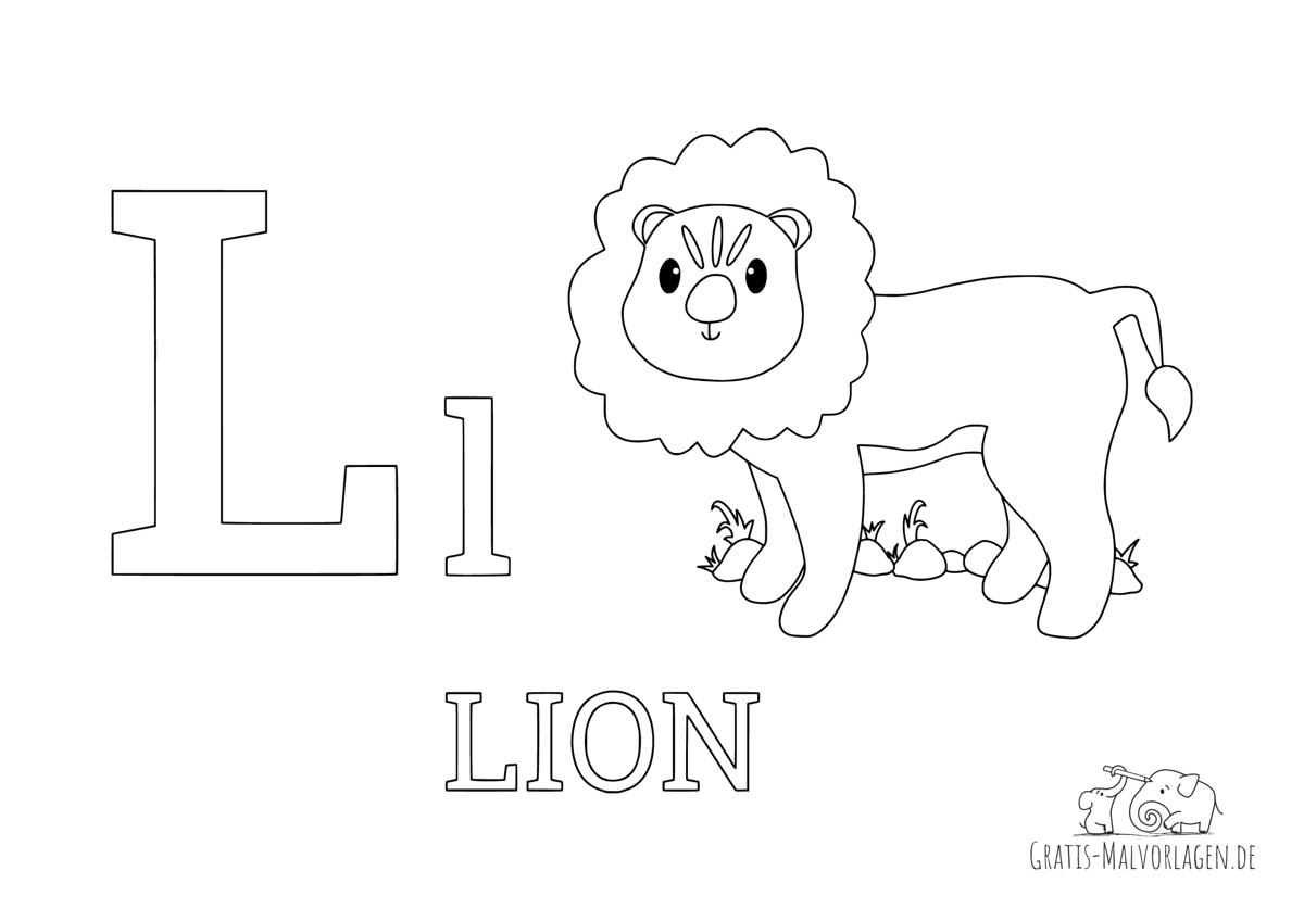 Ausmalbild Buchstabe L steht fürLion (Englisch)