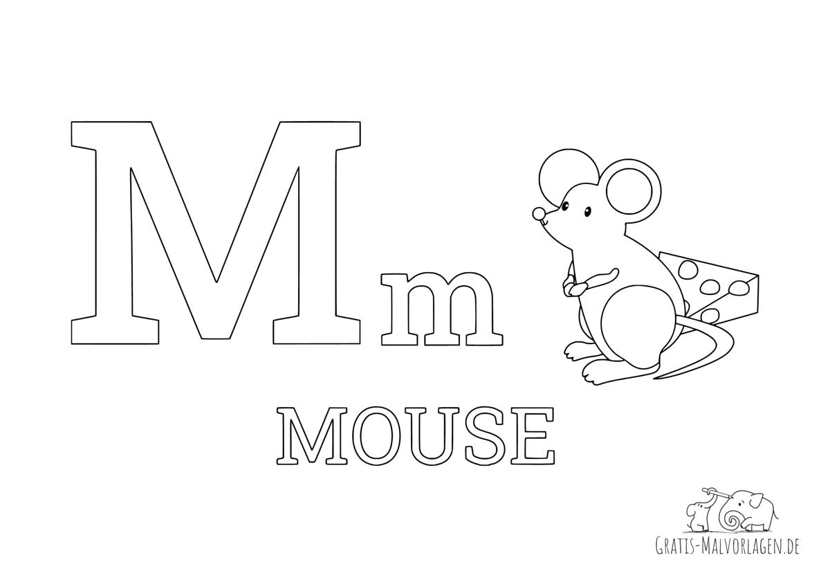 Ausmalbild Buchstabe M steht für Mouse (Englisch)