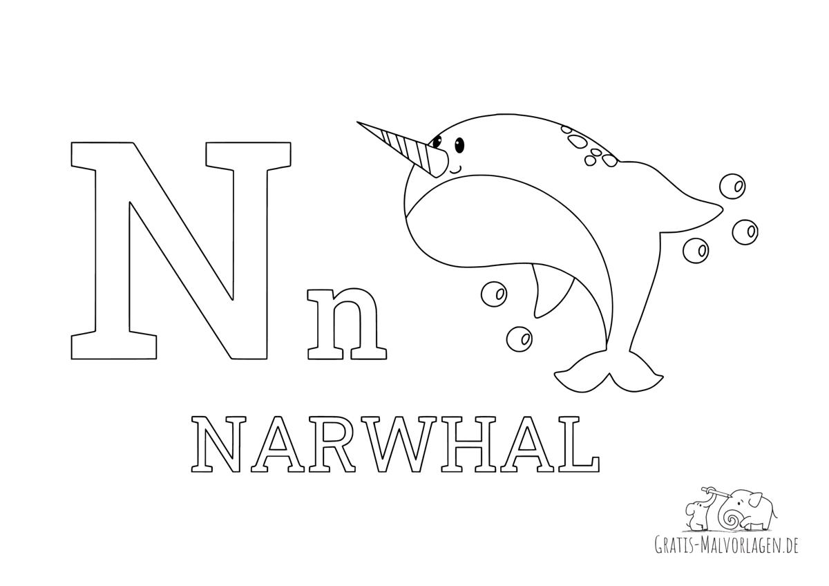 Ausmalbild Buchstabe N steht für Narwhal (Englisch)