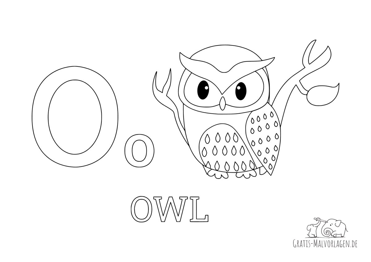 Ausmalbild Buchstabe O steht für Owl (Englisch)