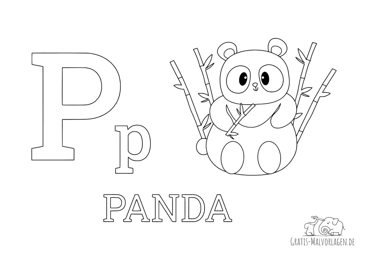 Ausmalbild Buchstabe P steht für Panda (Englisch)