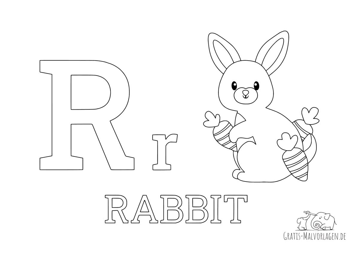 Ausmalbild Buchstabe R steht für Rabbit (Englisch)