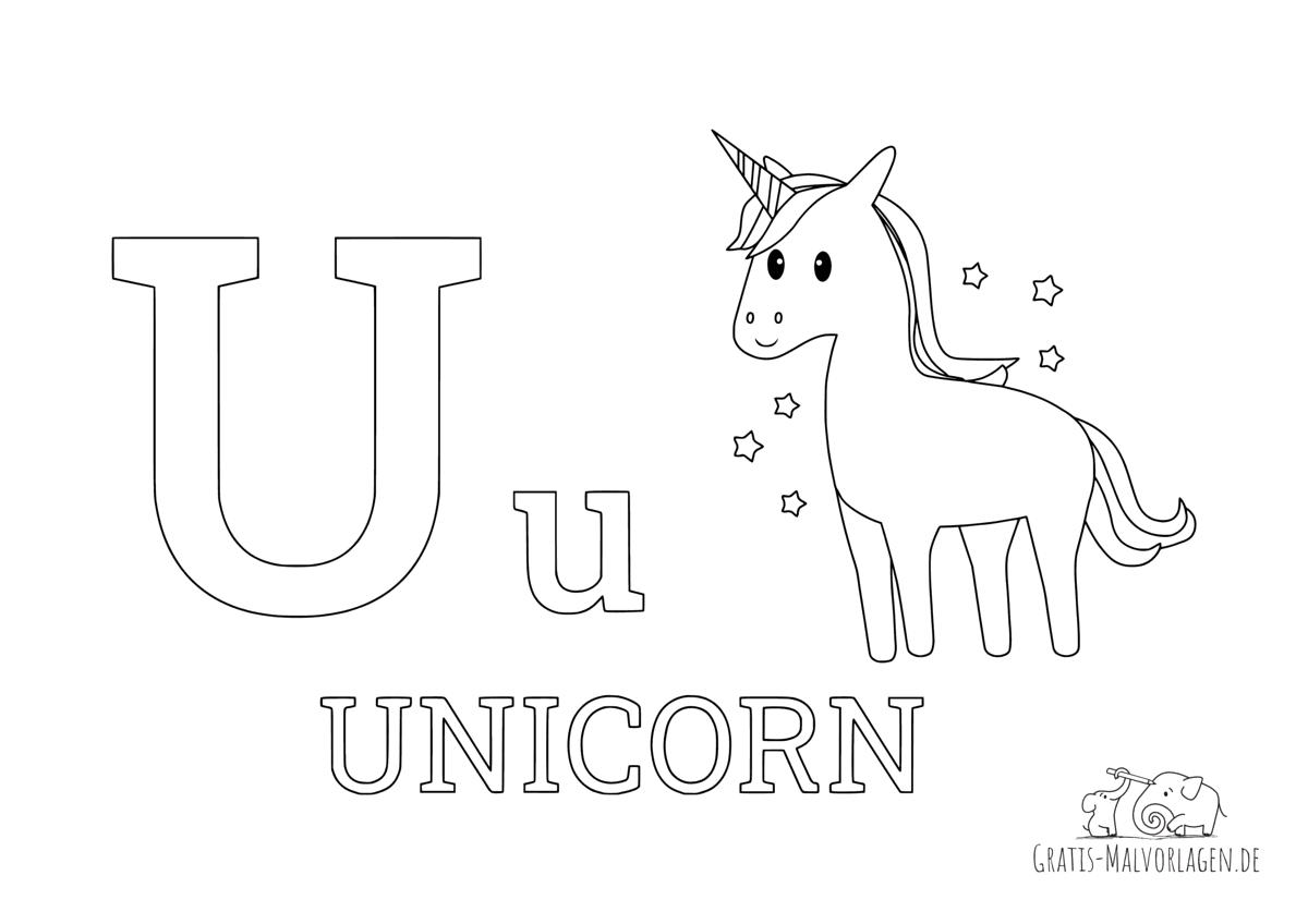 Ausmalbild Buchstabe U steht für Unicorn (Englisch)