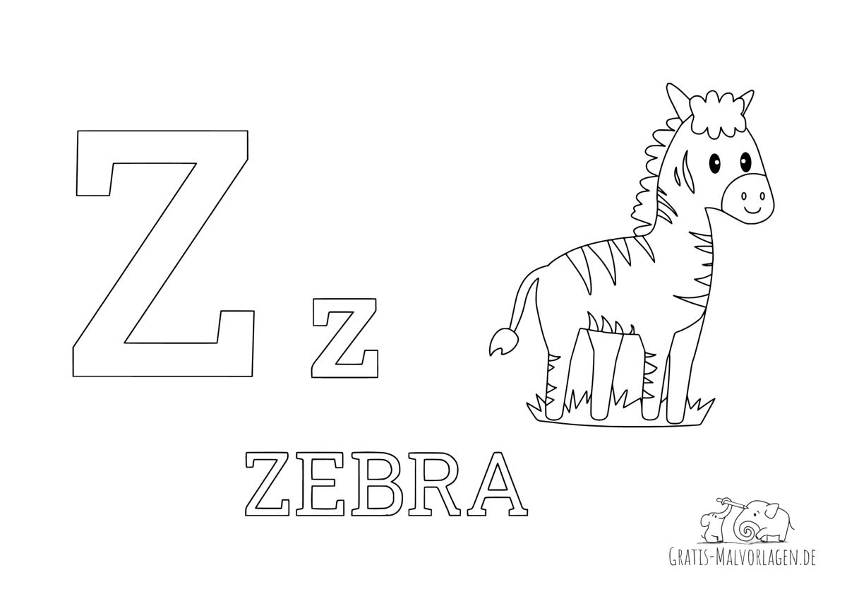 Ausmalbild Buchstabe Z steht für Zebra (Englisch)