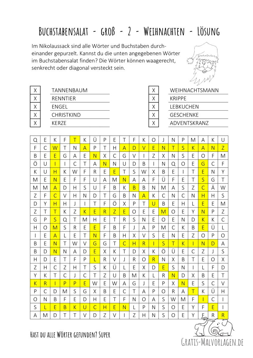 Buchstabensalat - groß - 2 - Weihnachten Lösung
