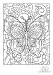 Ausmalbild Bunter großer Schmetterling mit Blumen