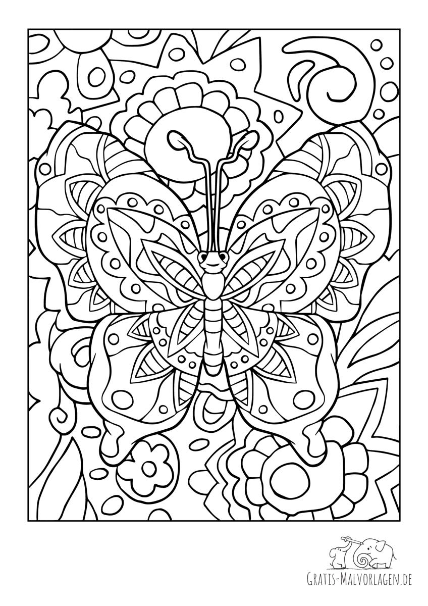 Bunter großer Schmetterling mit Blumen