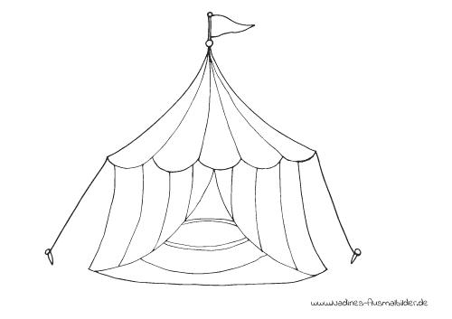 Ausmalbild buntes Zirkuszelt