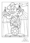 Ausmalbild Clown fährt Einrad im Zirkuszelt