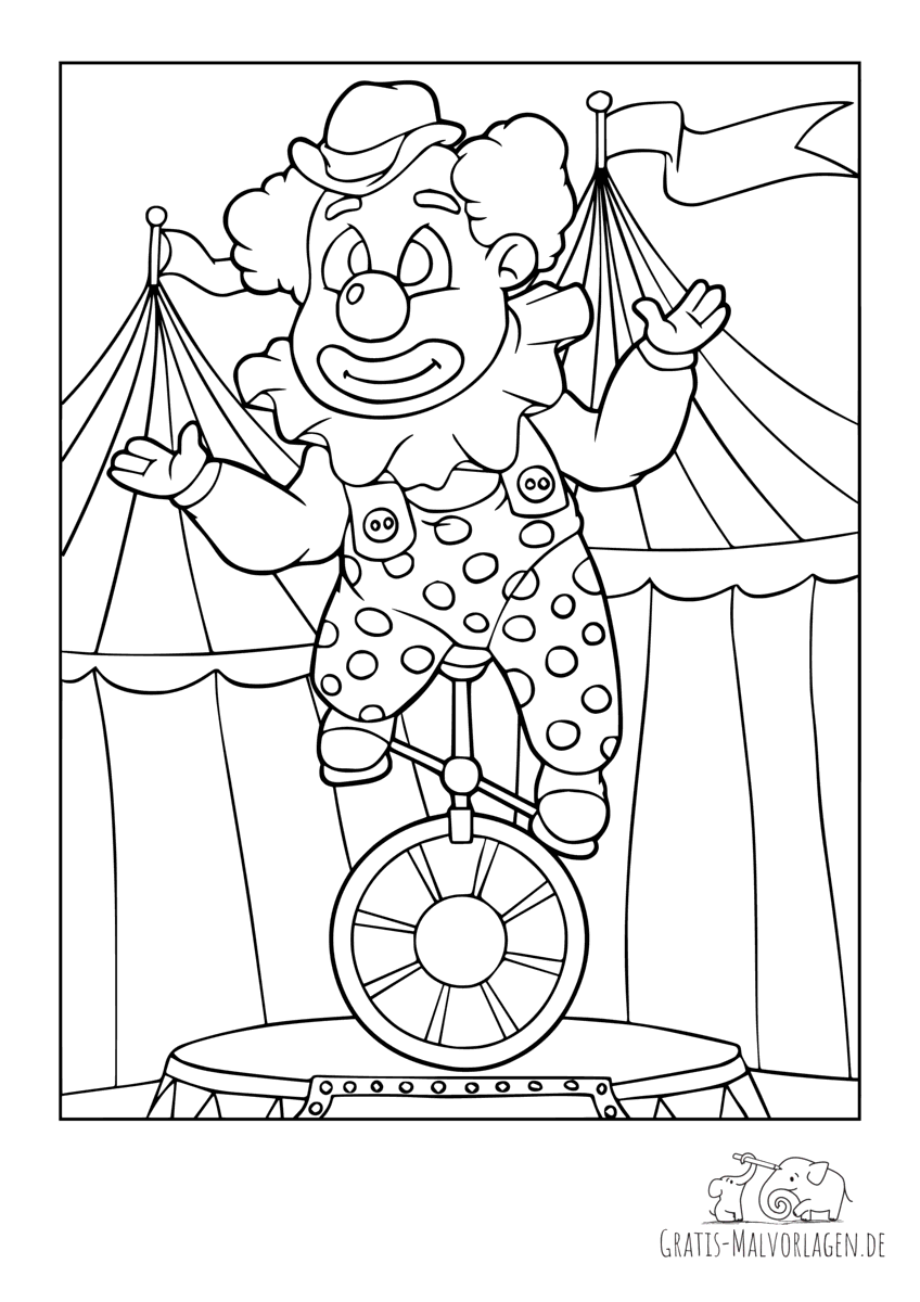 Clown fährt Einrad im Zirkuszelt