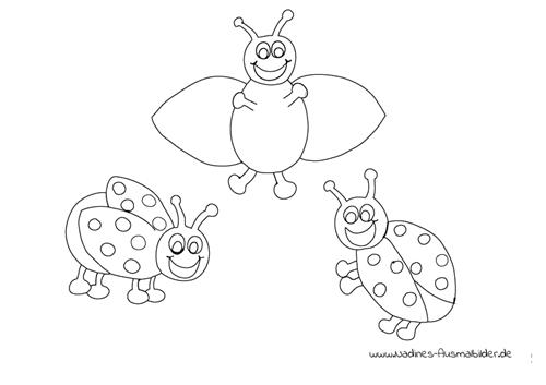 Ausmalbild Drei fröhliche Marienkäfer