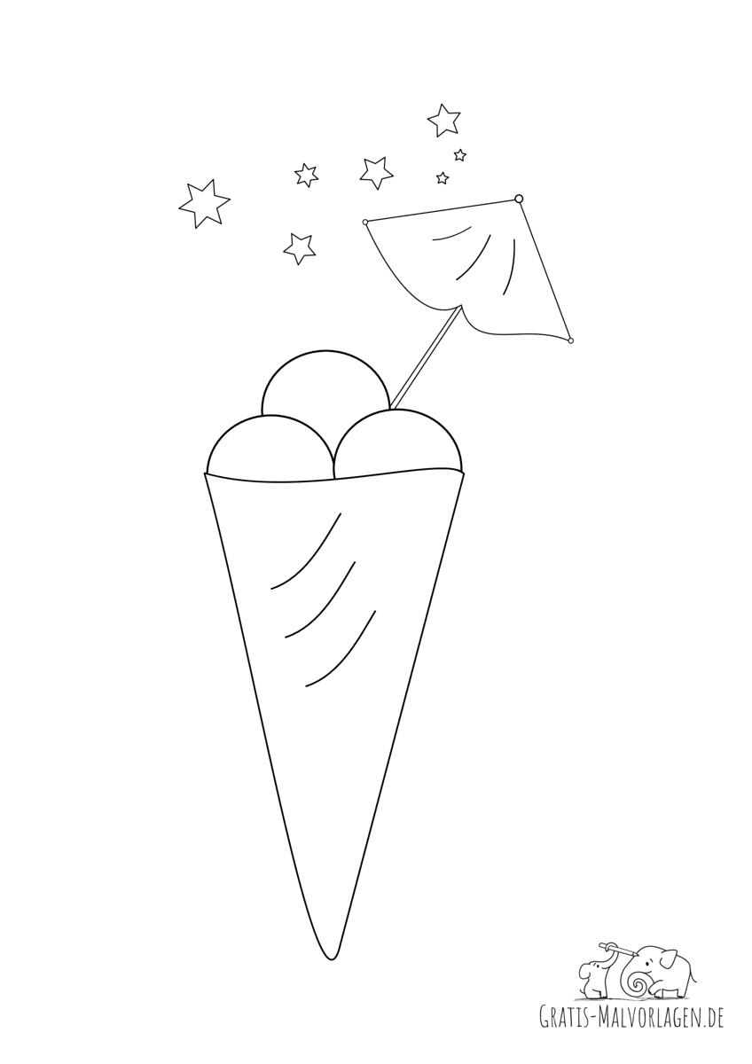 Ausmalbild Eiswaffel mit 3 Eiskugeln, Schirmchen und Sternchen