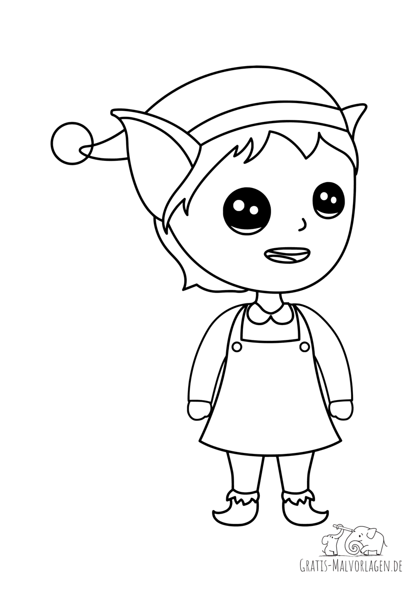 Ausmalbild Elfe mit Kleid