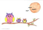 Ausmalbild Eulen auf dem Baum - Oskar 7 Jahre