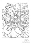 Ausmalbild Falter auf Katschmohnblume