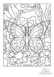 Ausmalbild Falter im Blumenbeet