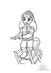 Ausmalbild Feuerwehrfrau auf Drehleiter mit Wasserschlauch
