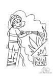 Ausmalbild Feuerwehrfrau auf Drehleiter mit Wasserschlauch löscht brennendes Gebäude