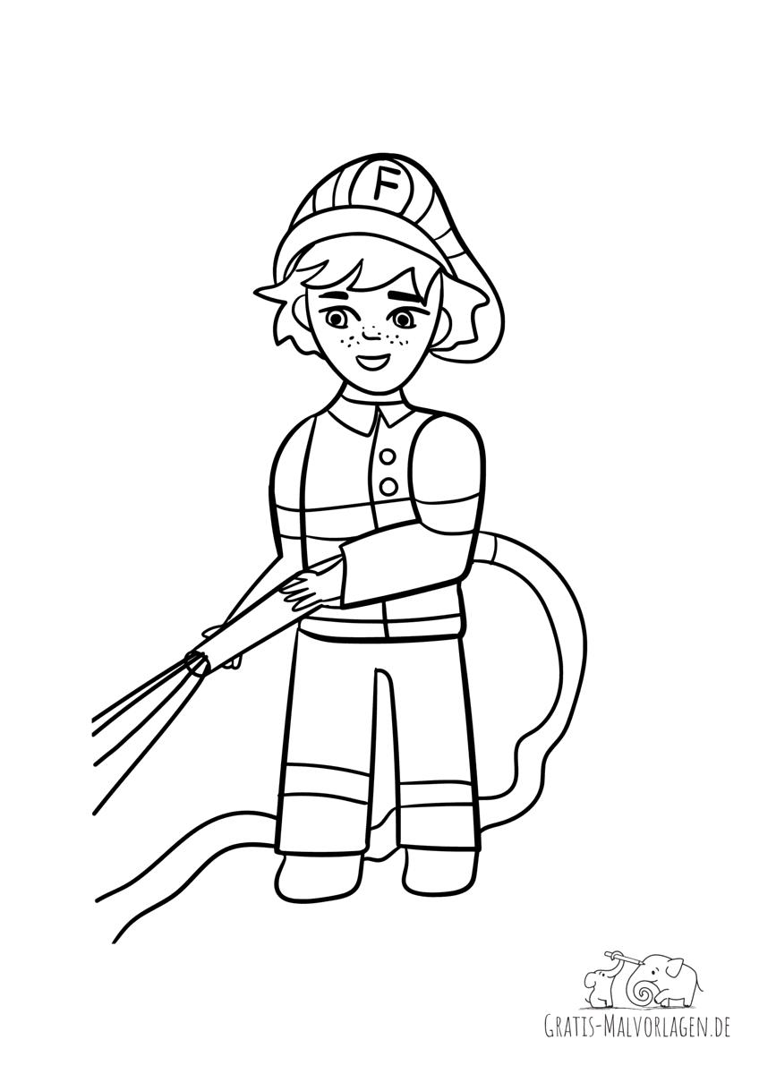 Ausmalbild Feuerwehrmann mit Wasserschlauch