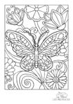 Ausmalbild Frecher Schmetterling im Blumenbeet