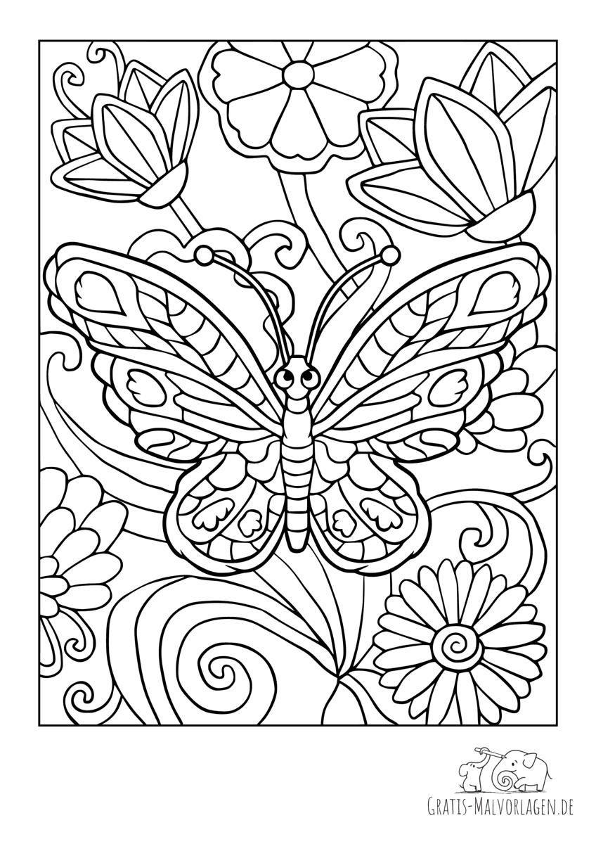 Frecher Schmetterling im Blumenbeet