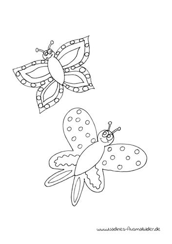 Ausmalbild Fröhliche Schmetterlinge
