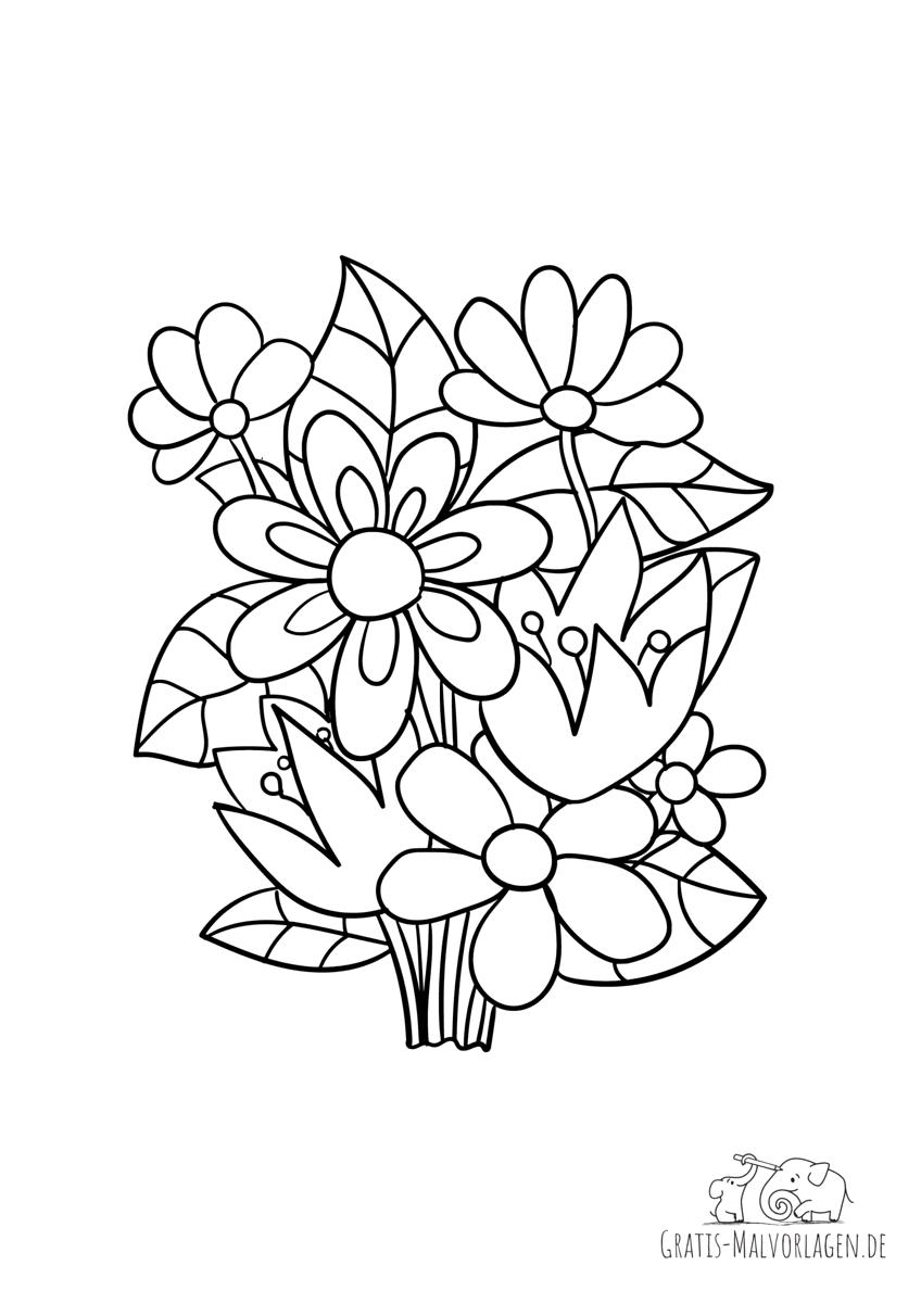 Ausmalbild Frühlingsblumenstrauß