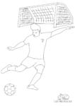 Ausmalbild Fußballer vor Tor schießt Ball